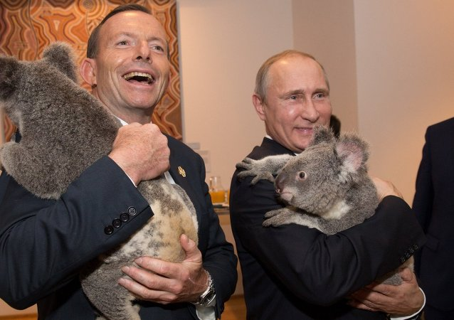 Primer ministro de Australia, Tony Abbott y presidente de Rusia, Vladímir Putin, durante la cumbre del G20