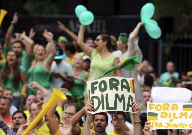 Protesta contra la presidenta de Brasil, Dilma Rousseff, en Sao Paolo. 15 de marzo de 2015