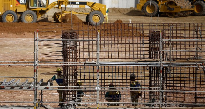 La vista de las obras de construcción en el Complejo Deportivo de Deodoro