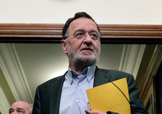Panagiotis Lafazanis, ministro de Reconstrucción Productiva, Medio Ambiente y Energía de Grecia