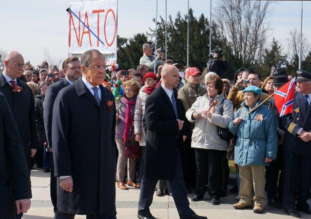 Ministro de asuntos exteriores de Rusia, Serguéi Lavrov, durante su visita a Bratislava