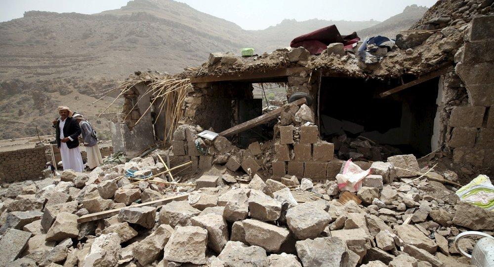 Casa de una aldea yemení destruida por los recientes bombardeos aéreos de Arabia Saudí