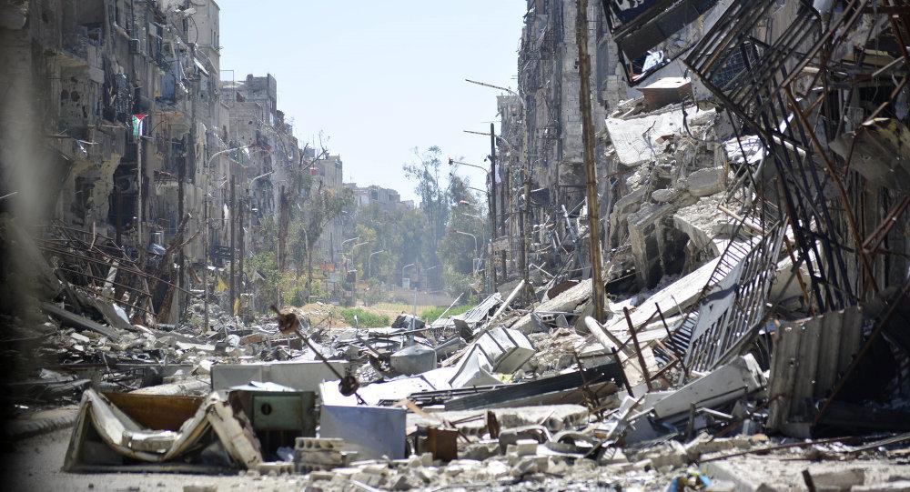 Vista general del campo de refugiados palestinos de Yarmuk en Damasco