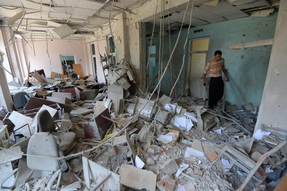 El edificio de una policlínica bombardeado por el Ejército ucraniano en Donetsk (10 de agosto de 2014)