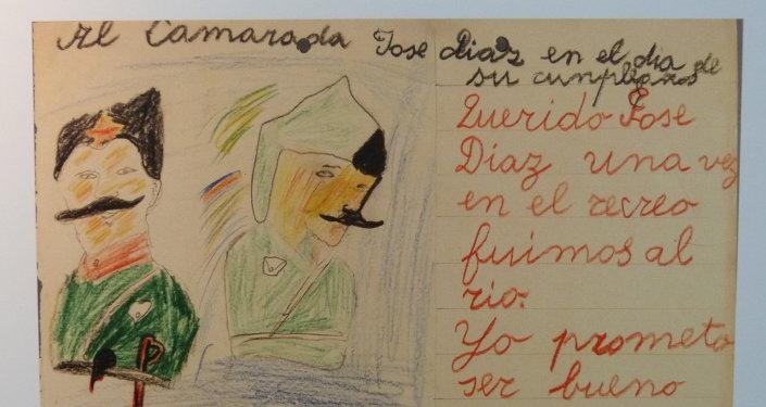 Postal escrita por un niño de la guerra al secretario general del Partido Comunista de España, José Díaz