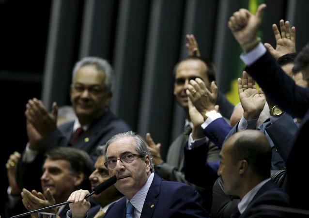 El presidente del Congreso de los Diputados de Brasil Eduardo Cunha durante la sesión de la Cámara de Diputados