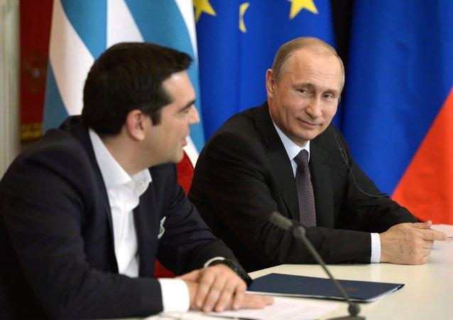 Primer ministro de Grecia, Alexis Tsipras, y presidente de Rusia, Vladímir Putin