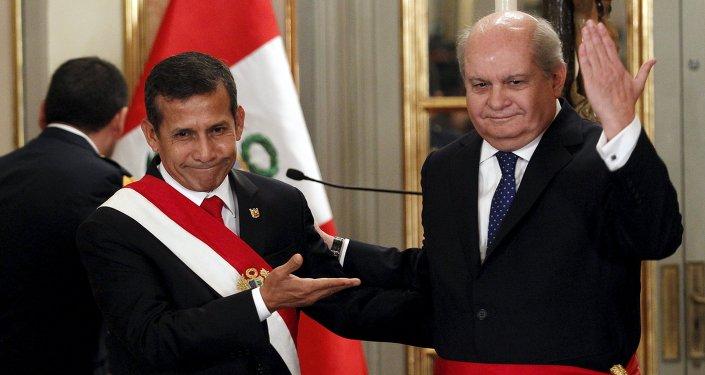 Presidente de Perú, Ollanta Humala con nuevo primer ministro, Pedro Cateriano
