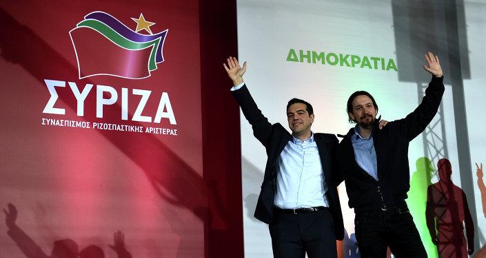 Alexis Tsipras y Pablo Iglesias en Atenas, 22 de enero de 2015