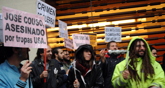 Protesta en Madrid por el asesinato de José Couso (archivo)