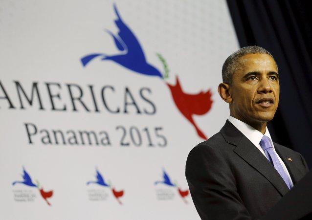 El presidente de EEUU, Barack Obama, habla durante rueda de prensa en el fin de VII Cumbre de las Américas
