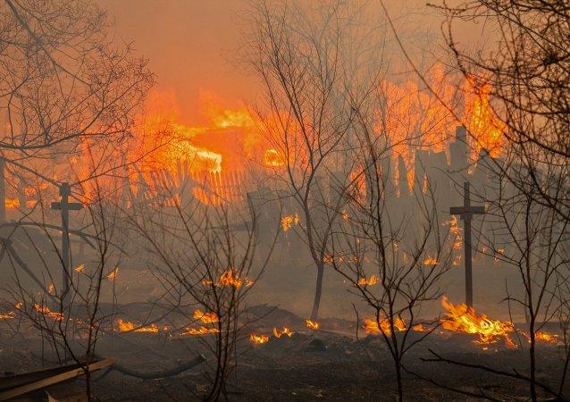 Un incendio en Abakán, capital de la república de Jakasia