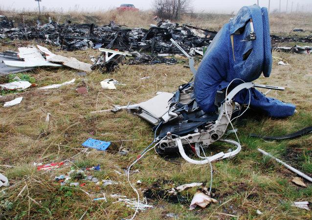 Los restos del avión MH17 derribado en el este de Ucrania