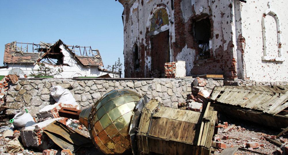Monasterio destruido en el este de Ucrania