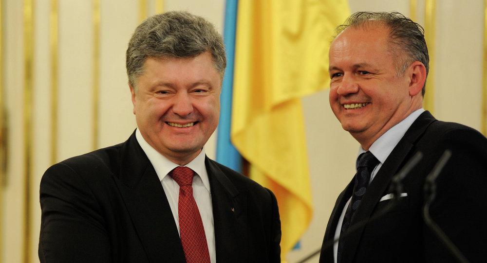 Presidente de Ucrania, Petró Poroshenko y presidente de Eslovaquia, Andrej Kiska