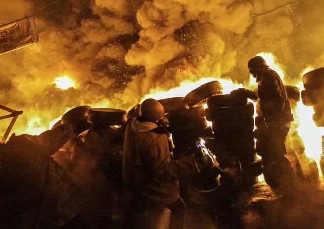 Manifestante herido en la Plaza de la Independencia (Maidán) de Kiev