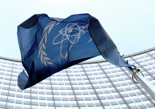 The flag of the International Atomic Energy Agency (IAEA) flies in front of the Vienna headquarters at the Vienna International Center, Friday, March 27, 2009