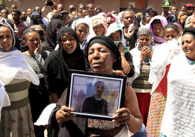 Manifestación en Etiopía contra las ejecuciones de cristianos etíopes por el grupo yihadista Estado Islámico (EI) en Libia