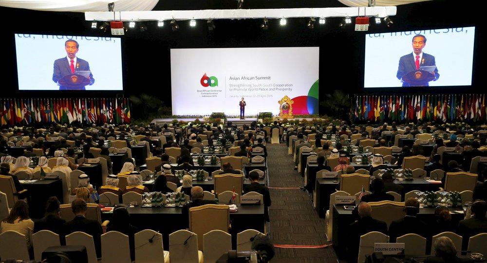 Joko Widodo, presidente de Indonesia, durante el Foro Empresarial Asia-África en Yakarta