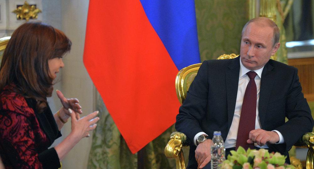 Presidenta de Argentina, Cristina Fernández de Kirchner y presidente de Rusia, Vladímir Putin