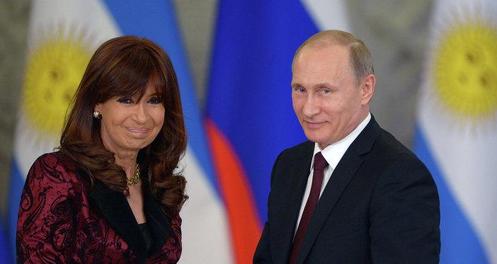 Presidenta de Argentina, Cristina Fernández de Kirchner y presidente de Rusia, Vladímir Putin, abril de 2015