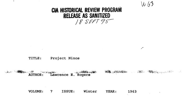 CIA Historical Review Program. Project Niños (PDF)