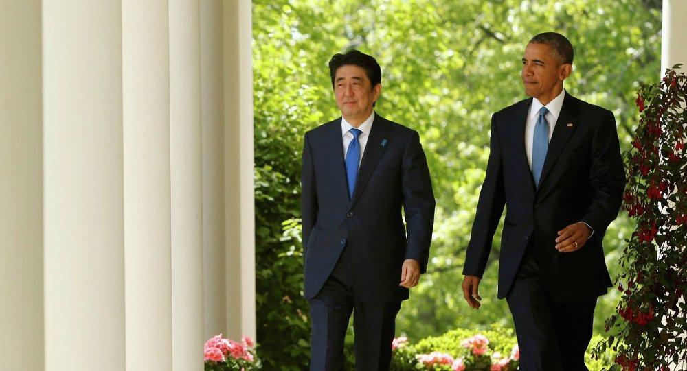 Primer ministro de Japón, Shinzo Abe  y presidente de EEUU, Barack Obama