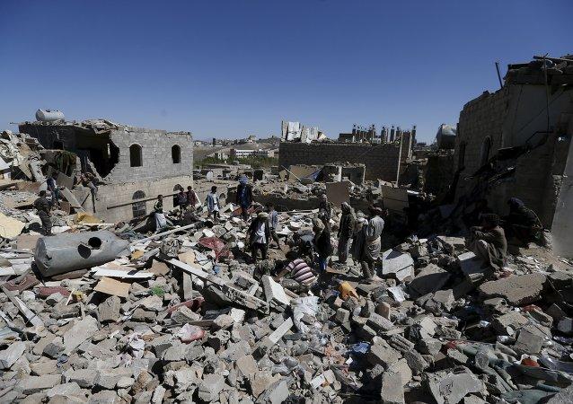Situación en Saná después del ataque aereo de la coalición liderada por Arabia Saudí