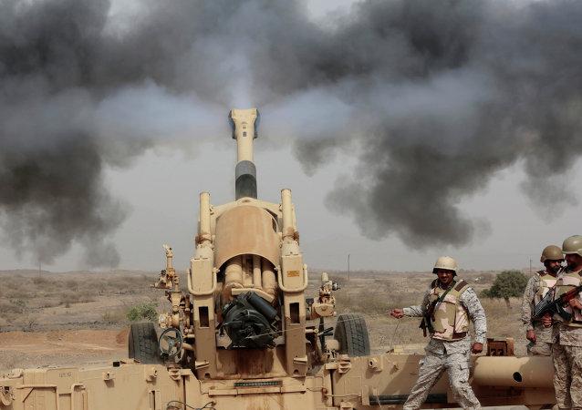 Soldados saudíes en la frontera con Yemen