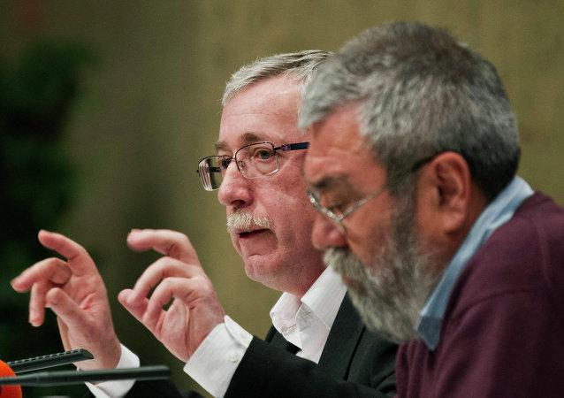 Líder de CCOO, Ignacio Fernández Toxo y secretario general de la socialista UGT, Cándido Méndez (Archivo)