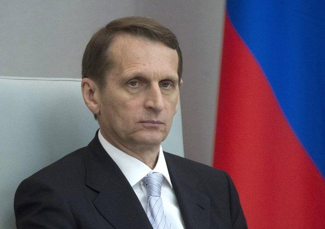 Serguéi Narishkin, presidente de la Duma de Estado de Rusia