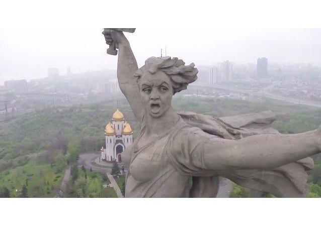 La Estatua de la Madre Patria, a vista de dron