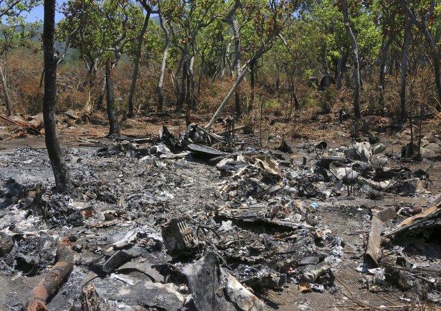 Lugar del siniestro del helicóptero Cougar de las Fuerzas Especiales de las FFAA de México
