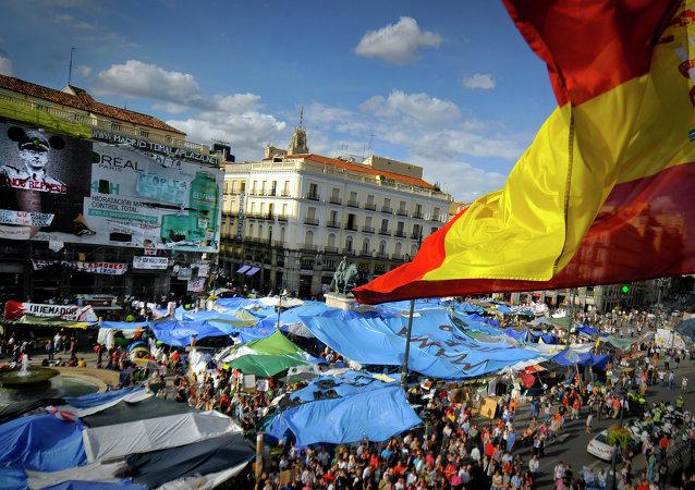 Campamento de los 'indignados' en la Puerta del Sol de Madrid. Mayo de 2011