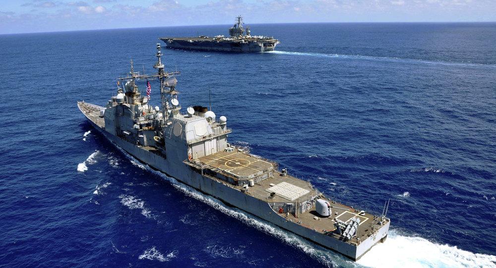 Buques de guerra de EEUU en el mar del Sur de China (Archivo)