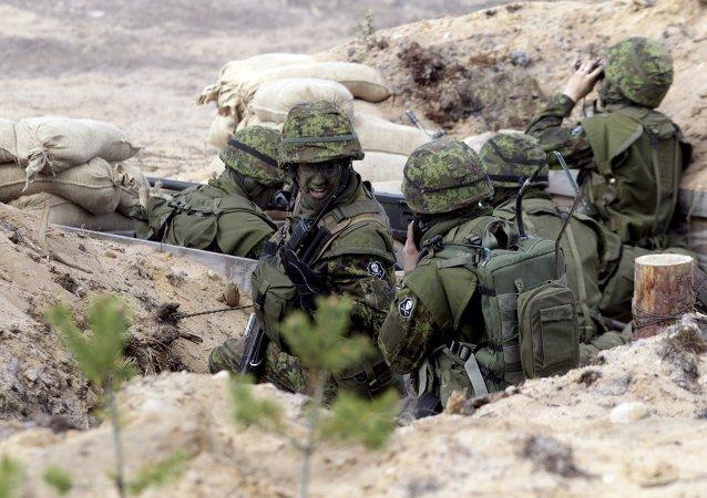 Soldados estonios durante las maniobras (archivo)