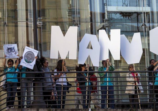 Los partidarios de Manuela Carmena, candidata de Ahora Madrid