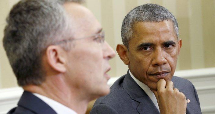 Secretario general de la OTAN, Jens Stoltenberg y presidente de EEUU, Barack Obama