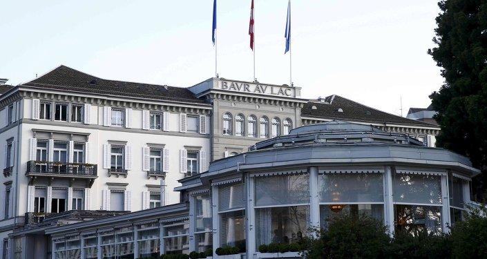 Vista general del Baur au Lac hotel en Zúrich, donde fueron detenidos varios de los altos cargos de la FIFA