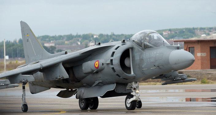 Un avión caza AV-8B Harrier de la Marina de guerra de EEUU