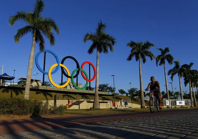Anillos olímpicos en Madureira Park en Río de Janeiro