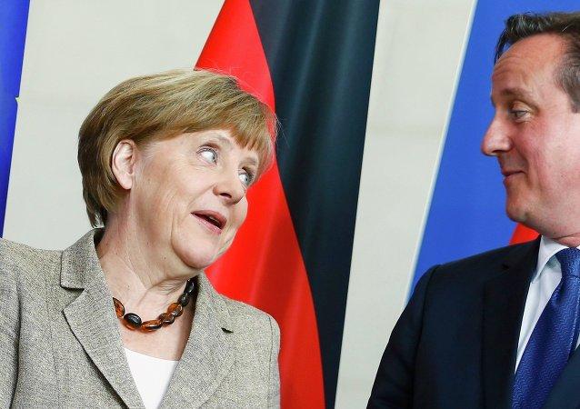 Canciller de Alemania, Angela Merkel y primer ministro de Reino Unido, David Cameron