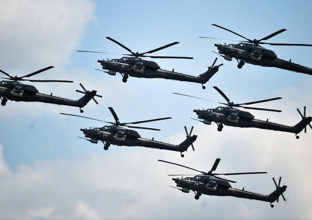 Helicópteros rusos durante el concurso Aviadarts (archivo)