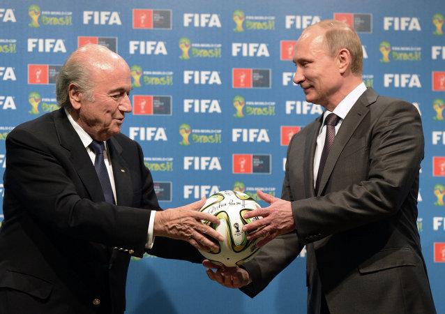 Presidente de la FIFA, Joseph Blatter y presidente de Rusia, Vladimir Putin