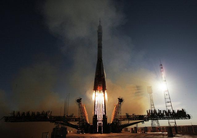 Lanzamiento del cohete Soyuz-FG desde el cosmódromo de Baikonur (archivo)