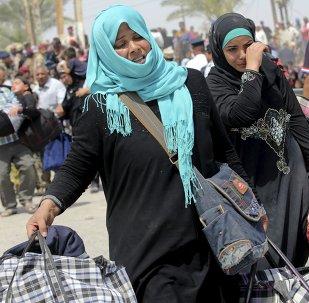 Desplazadas mujeres en los alrededores de Bagdad, Iraq, el 24 de mayo, 2015