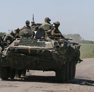 Miembros de las fuerzas armadas de Ucrania en Donbás