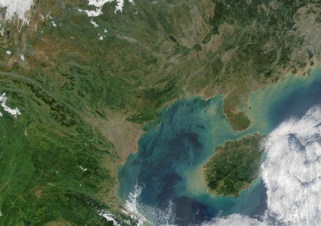 Imagen del Golfo de Tonkín, un brazo del mar de la China Meridional, desde el satélite
