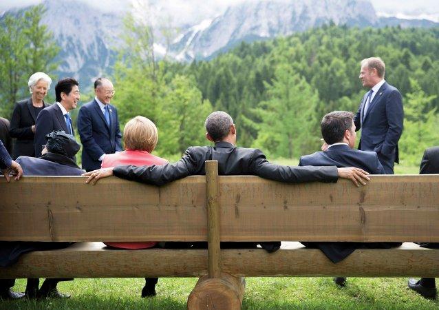 Presidente de EEUU, Barack Obama, y los líderes de G7 durante la cumbre de la ente en Baviera (Archivo)
