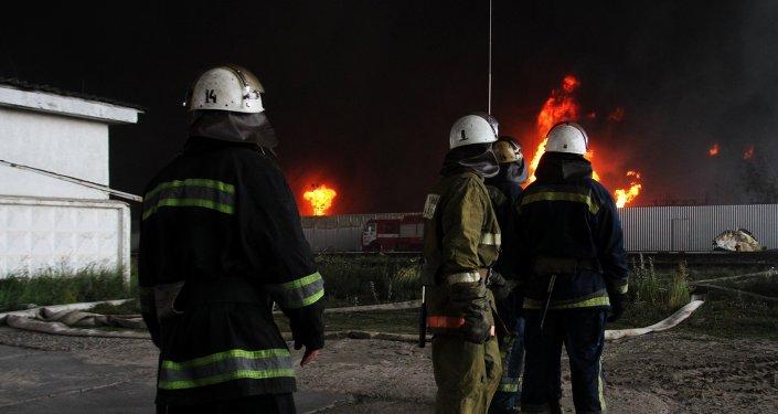Incendio en un depósito petrolero en Ucrania